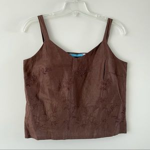 Johnny Was vintage linen embroidered tank top